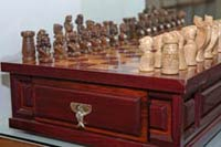 carved chess set at brilanti silver jewelry - todos santos, baja california sur, mexico